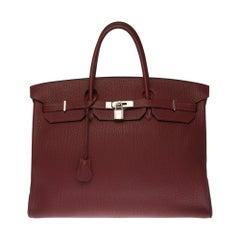 Stunning Hermes Birkin 40cm handbag in burgundy Fjord leather, silver hardware