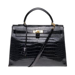 Stunning Hermes Kelly 35 strap shoulder bag in black Crocodile Leather, GHW