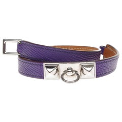 Stunning Hermès Kelly double tour bracelet in purple epsom and silvery hardware