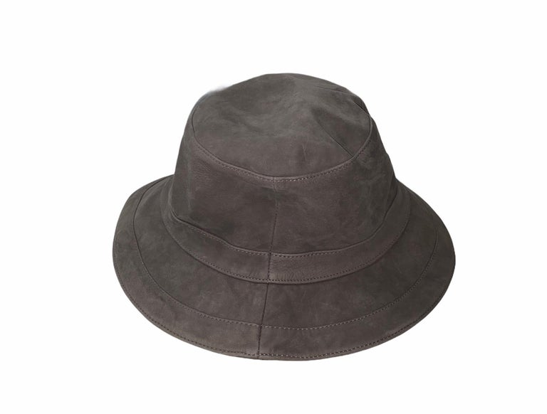 Gray Stunning HERMES Paris Suede Leather Hat Cap For Sale