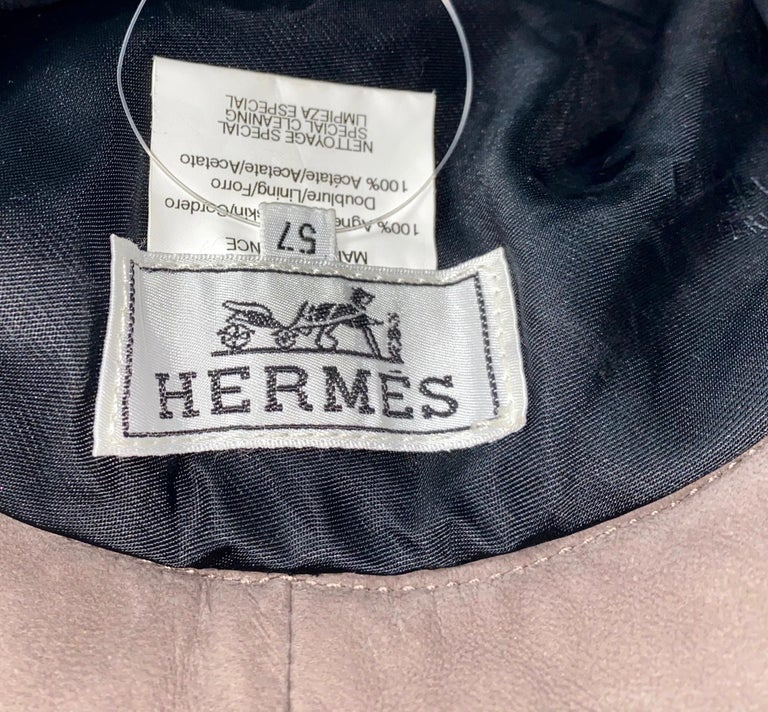 Women's or Men's Stunning HERMES Paris Suede Leather Hat Cap For Sale