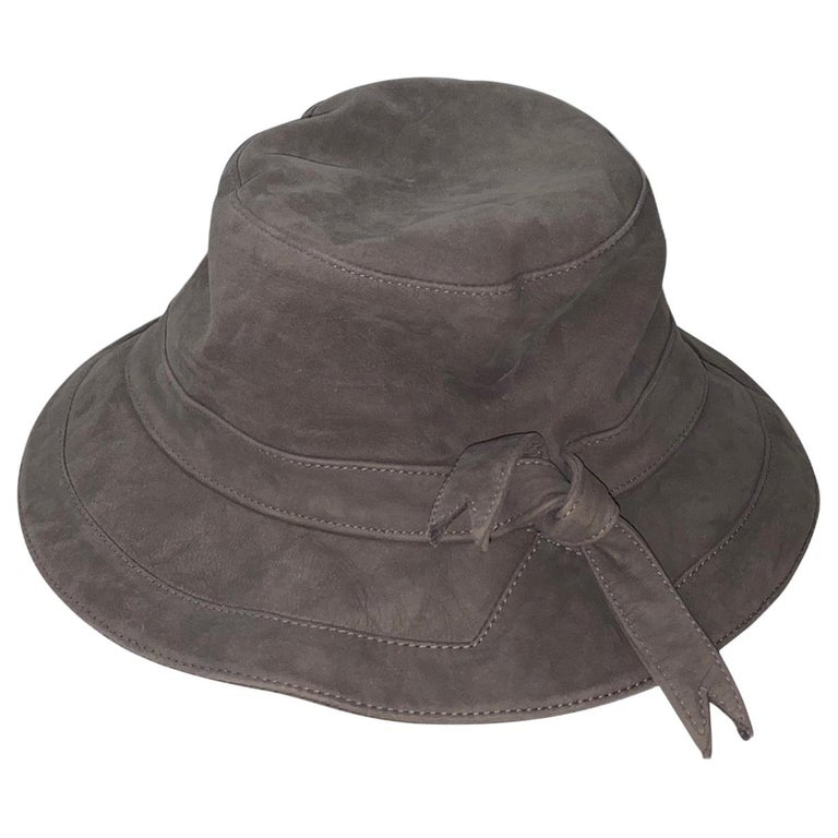 Stunning HERMES Paris Suede Leather Hat Cap For Sale