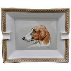 Stunning Hermès Vintage Porcelain Ashtray Change Tray Dog Head Pattern