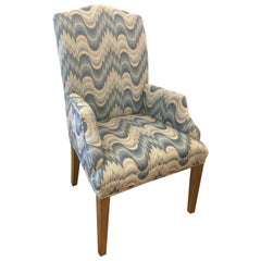 Stunning High Back Wing Chair Upholstered in Bargello Weave