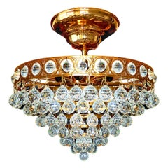 Stunning Hollywood Regency Wedding Cake Crystal & Gilt Brass 8-Light Chandelier