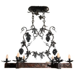 Stunning Horizontal Chandelier with Wrought Iron Grapes and Hand Carved Branches