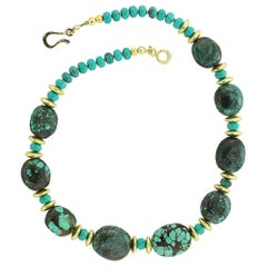 Stunning Hubei Turquoise Necklace with Gold Accents