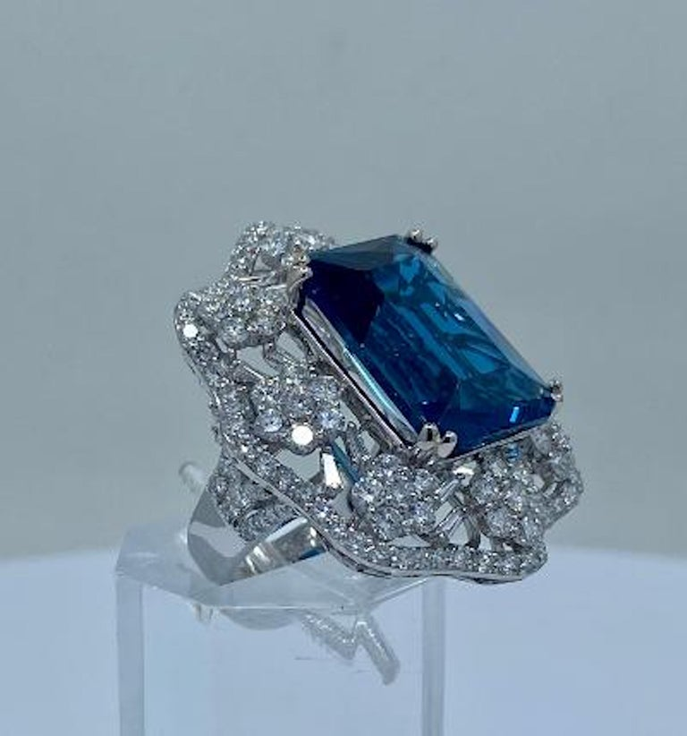 Women's Stunning Huge 23.71 Carat London Blue Topaz and Diamond 18 Karat Cocktail Ring For Sale