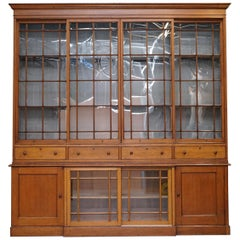 Stunning Huge Tall, Victorian Oak Library Bookcase Sliding Glass Doors