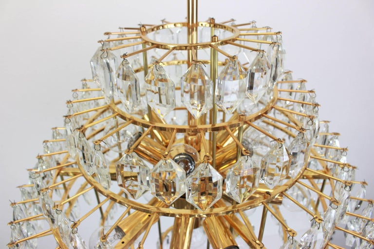 Stunning Huge Bakalowits Chandelier, Brass and Crystal Glass, Austria, 1960s For Sale 2