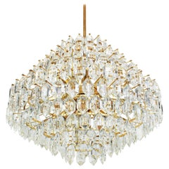 Stunning Huge Bakalowits Chandelier, Brass and Crystal Glass, Austria, 1960s