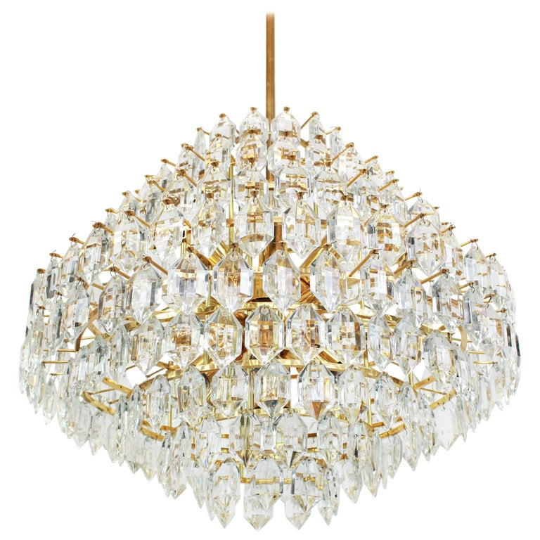 Stunning Huge Bakalowits Chandelier, Brass and Crystal Glass, Austria, 1960s For Sale