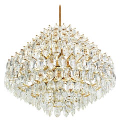 Stunning Huge Bakalowits Chandelier, Brass and Crystal Glass, Austria, 1960s
