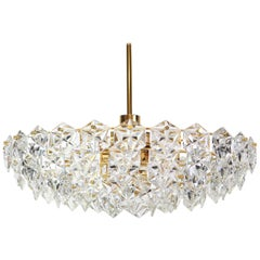 Stunning Huge Chandelier, Brass and Crystal Glass by Kinkeldey, Germany, 1970s