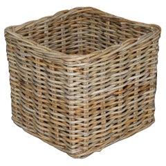 Stunning Huge Vintage Wicker Rattan Log or Linen Laundry Basket for Fabric Rolls