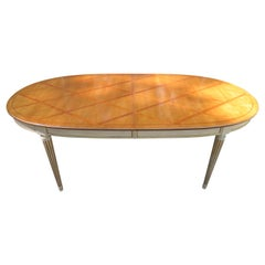 Stunning In-Laid Lattice Top Racetrack Dining Table Hollywood Regency