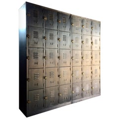 Stunning Industrial Metal Lockers Thirty Cabinets Loft Style Brushed Steel