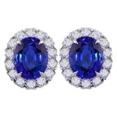 Tanzanite and Diamond White Gold Cluster Earrings