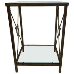 Stunning Iron and Glass Neoclassical Style End Table with Arrow Motife