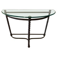Stunning Iron Barley Twist Demilune Console with Bevelled Glass Top