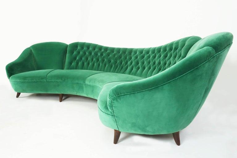 Mid-Century Modern Italian Design 1950 Cozy Curved Sofa New Covered with Dedar Green Velvet
