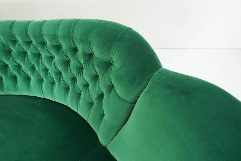 Upholstery Italian Design 1950 Cozy Curved Sofa New Covered with Dedar Green Velvet