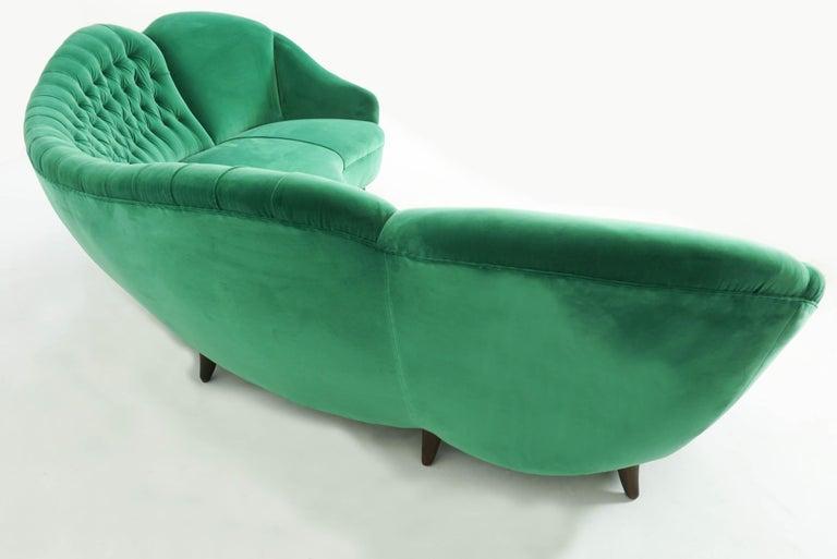 Italian Design 1950 Cozy Curved Sofa New Covered with Dedar Green Velvet 2