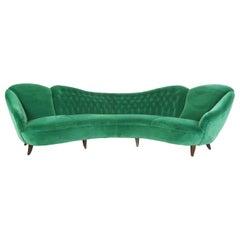 Italian Design 1950 Cozy Curved Sofa New Covered with Dedar Green Velvet