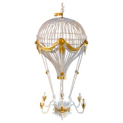 Stunning Italian Gilt & Polychromed Tole Hot Air Balloon Chandelier