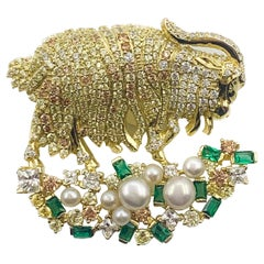 Stunning Italian Gold over Sterling Pearls & Stone Pin