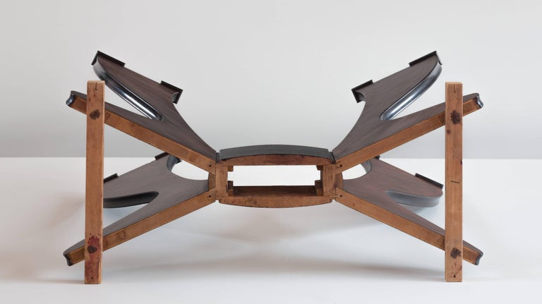 Stunning Italian Modern Rosewood and Black Opaline Glass Dining Table, 1940 For Sale 6