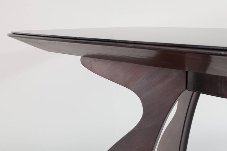 Stunning Italian Modern Rosewood and Black Opaline Glass Dining Table, 1940 For Sale 2