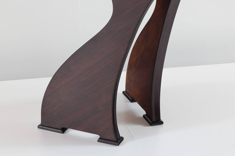 Stunning Italian Modern Rosewood and Black Opaline Glass Dining Table, 1940 For Sale 3