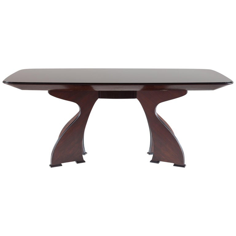 Stunning Italian Modern Rosewood and Black Opaline Glass Dining Table, 1940 For Sale