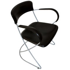 Stunning Italian Pioretta Armchair by Matteo Grassi 1880 in Dark Brown Leather