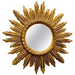 Stunning Italian Starburst Sunburst Gilded Resin Mirror, circa 1970s