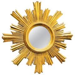 Stunning Italian Starburst Sunburst Mirror Gold-Plated, circa 1970s