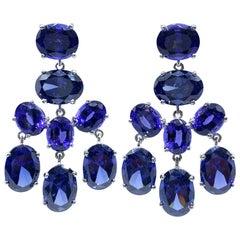 Stunning Jarin Lab-Sapphire and Tanzanite Chandelier Earrings