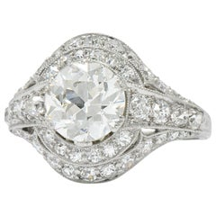 Stunning J.E. Caldwell Art Deco 2.81 Carat Diamond Engagement Ring GIA