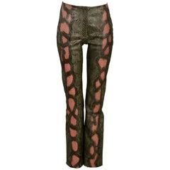 Stunning Jean-Claude Jitrois Green & Pink Python & Leather Pants