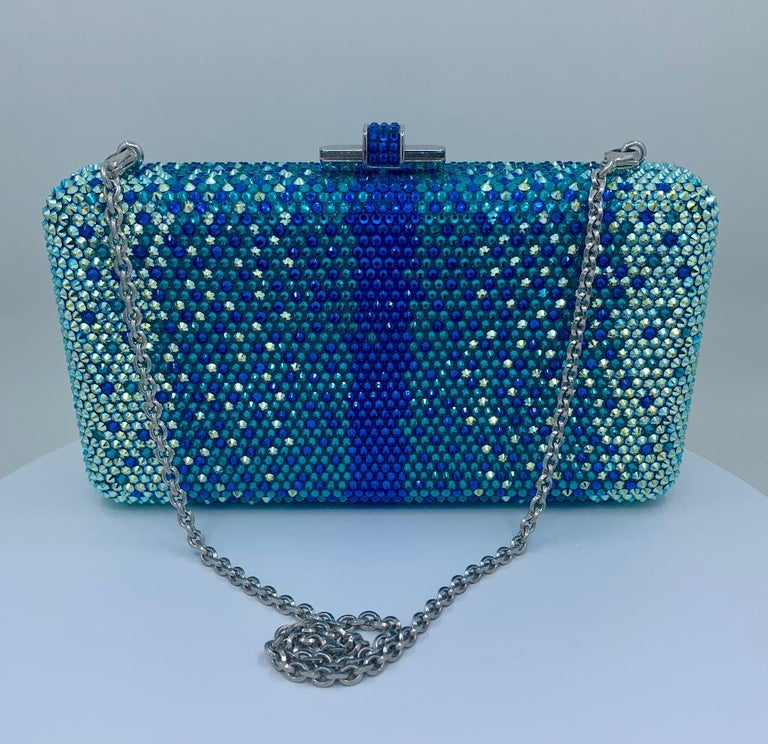 Stunning Judith Leiber Peacock Blue Shimmering Crystal Minaudiere Evening Bag For Sale 6