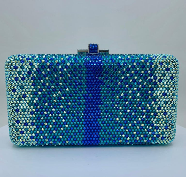 Stunning Judith Leiber Peacock Blue Shimmering Crystal Minaudiere Evening Bag For Sale 8