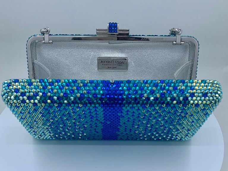 Women's Stunning Judith Leiber Peacock Blue Shimmering Crystal Minaudiere Evening Bag For Sale