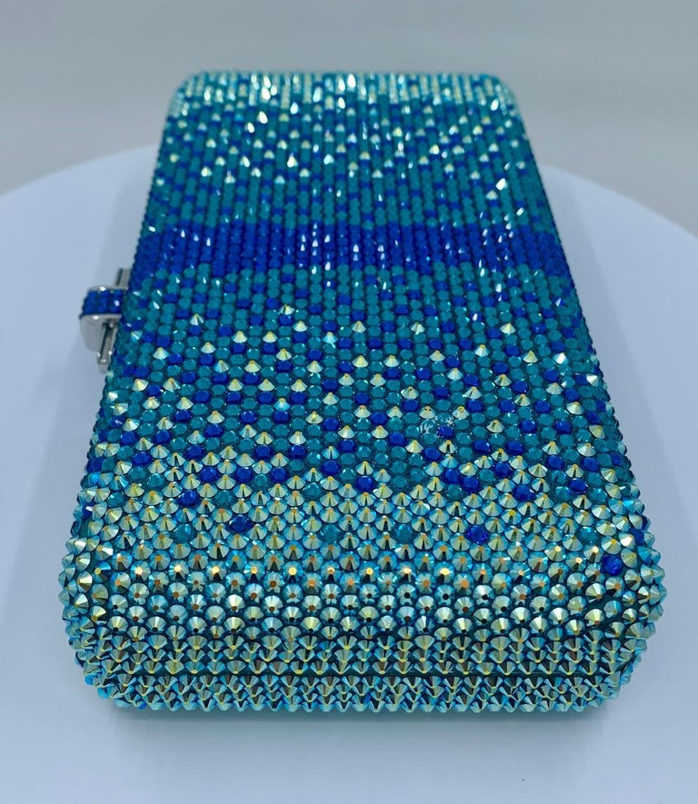 Stunning Judith Leiber Peacock Blue Shimmering Crystal Minaudiere Evening Bag For Sale 1