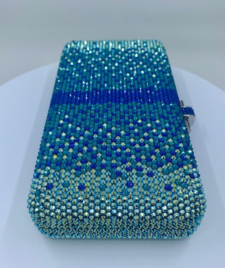 Stunning Judith Leiber Peacock Blue Shimmering Crystal Minaudiere Evening Bag For Sale 2