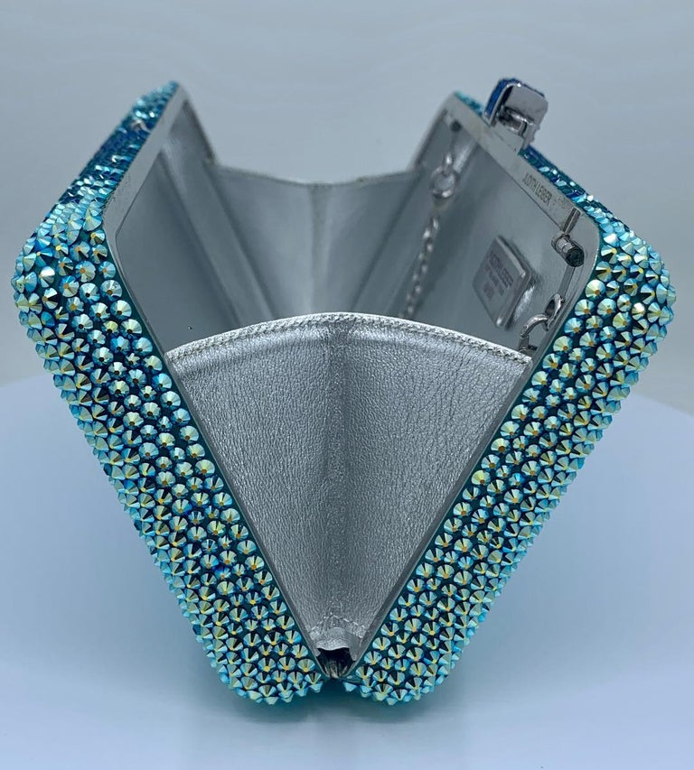 Stunning Judith Leiber Peacock Blue Shimmering Crystal Minaudiere Evening Bag For Sale 3