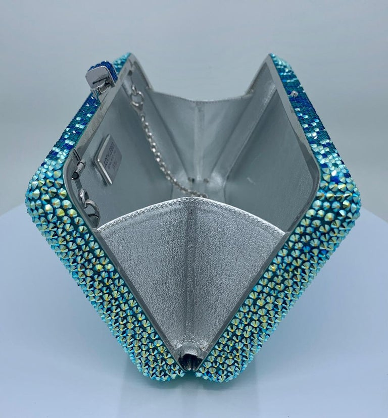 Stunning Judith Leiber Peacock Blue Shimmering Crystal Minaudiere Evening Bag For Sale 4