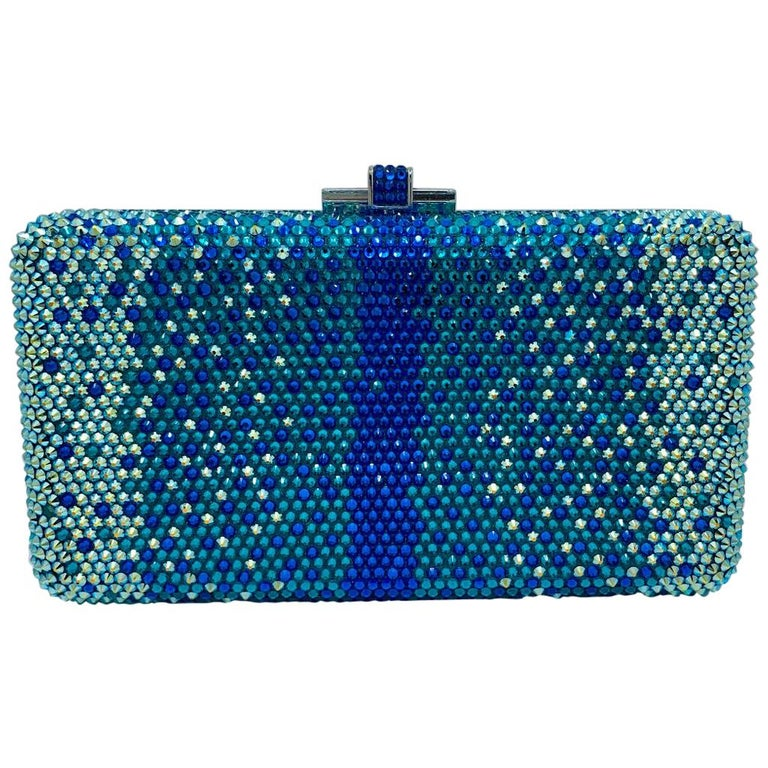 Stunning Judith Leiber Peacock Blue Shimmering Crystal Minaudiere Evening Bag For Sale