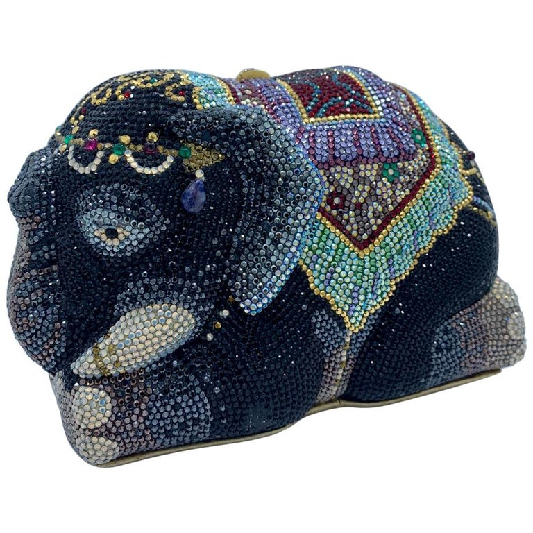 """Stunning Judith Leiber Maharaja """"Trunks Up For Good Luck"""" Elephant Minaudiere  For Sale"""