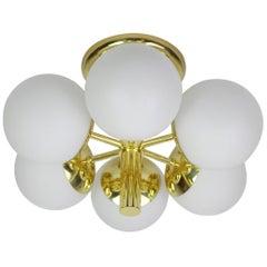 Stunning Kaiser Radial Sputnik Opal Glass Globes Chandelier, Germany, 1960s